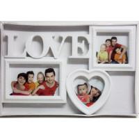 Fotorám na 3 fotky Love, biely, 37x25 cm