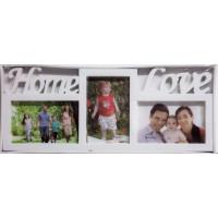 Fotorám na 3 fotky Home Love, biely, 43x18cm