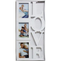 Fotorám na 3 fotky Love, biely, 26x54cm