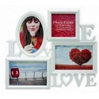 Fotorám Love na 4 fotky, biely,  35x32cm