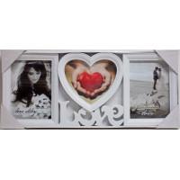 Fotorám na 3 fotky,  Love Story, biely,  49x21cm
