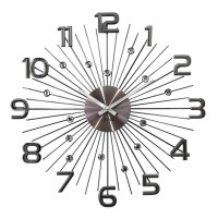 Nástenné hodiny LAVVU LCT1151 CRYSTAL Sun Antracitové, 49 cm