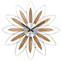 Drevené strieborné hodiny LAVVU CRYSTAL Flower LCT1112, 50cm