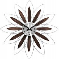 Drevené strieborné hodiny LAVVU CRYSTAL Flower LCT1113, 50 cm