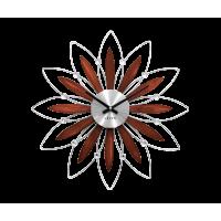 Drevené strieborné hodiny LAVVU CRYSTAL Flower LCT1111, 50cm