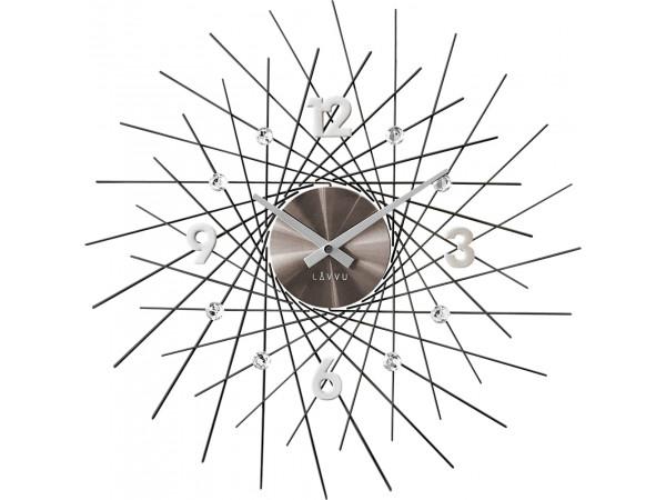 Nástenné hodiny LAVVU LCT1055 CRYSTAL Lines antracit, 49 cm