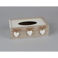 Krabička na papierové vreckovky, Srdcia, D089