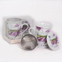 Šálka so sitkom a viečkom, Lavender, l5, 300ml