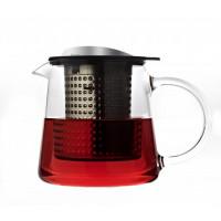 Sklenená kanvica na čaj FINUM Tea Control ™ 0,4 L, čierna / nerez, s podložkou