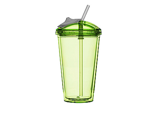 Pohár so slamkou SAGAFORM Fresh Smoothie Mug, 450ml, zelený
