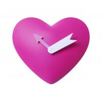 Detské nástenné hodiny Srdce, ružové, 25cm