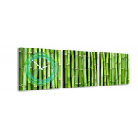 3 dielne obrazové hodiny, Bambus, 35x105cm