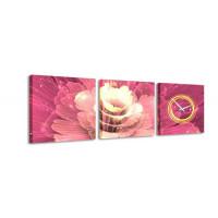 3 dielne obrazové hodiny, Flower 1, 35x105cm