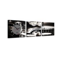 3 dielne obrazové hodiny, Cadillac, 35x105cm