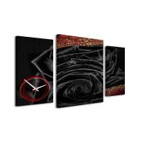 3-dielný obraz s hodinami, Black rose, 95x60cm
