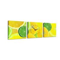 3 dielne obrazové hodiny, Citrus, 35x105cm