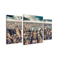 3-dielný obraz s hodinami, City, 95x60cm