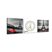 3 dielne obrazové hodiny, Eiffelova veža, 35x105cm