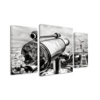 3 dielne obrazové hodiny,  Ďalekohľad, 60x95cm