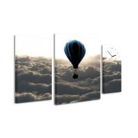 3 dielne obrazové hodiny, Ballon, 60x95cm