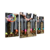 3 dielne obrazové hodiny,  Ponožky, 60x95cm