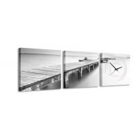 3 dielne obrazové hodiny Bridge to Nowhere, 35x105cm
