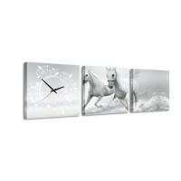 3 dielne obrazové hodiny, Kone, 35x105cm
