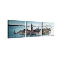 3 dielne obrazové hodiny, City Island, 35x105cm