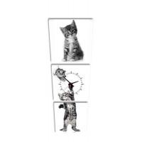3 dielne obrazové hodiny, Kitty, 35x105cm