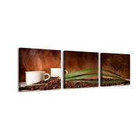 3 dielne obrazové hodiny,  Čas na kávu, 35x105cm