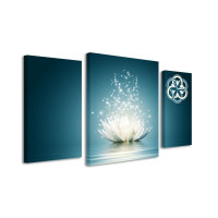 3 dielne obrazové hodiny, LOTUS FLOWER, 60x95cm