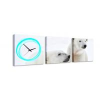 3 dielne obrazové hodiny Ľadový medveď, 35x105cm