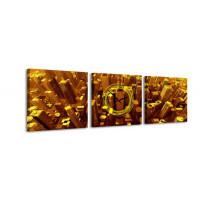 3 dielne obrazové hodiny, Gold City, 35x105cm