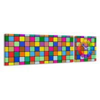 2-dielny obraz s hodinami, Mozaika, 158x46cm