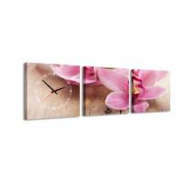 3 dielne obrazové hodiny, Pink, 35x105cm