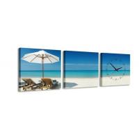 3 dielne obrazové hodiny, Beach, 35x105cm