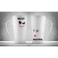 Hrnčeky pre páry Latte, Beautiful & Beast, 2ks x 450ml