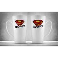 Hrnčeky pre páry - Super Wifey & Hubby, 2ks x 450ml