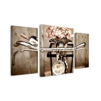 3 dielne obrazové hodiny, Bicykel, 60x95cm