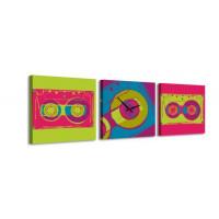 3 dielne obrazové hodiny, Retro tape, 35x105cm