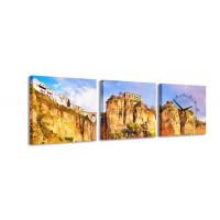 3 dielne obrazové hodiny, Rocks, 35x105cm