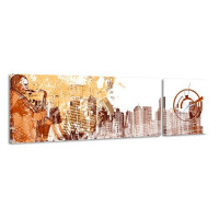 2-dielny obraz s hodinami, Saxofón, 158x46cm
