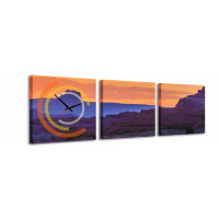 3 dielne obrazové hodiny Skaly, 35x105cm