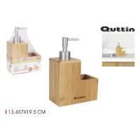 Dávkovač saponátu s držiakom na špongiu Quttin 2984, bambus