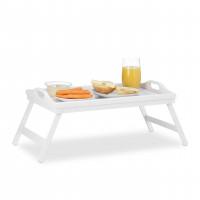 Stolík na raňajky do postele, Bamboo / biely RD3232
