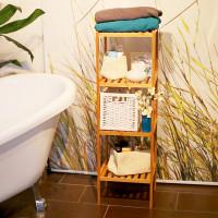 Bambusový kúpeľňový regál s 4 policami RD3497