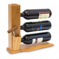 Bambusový stojan na víno pre 3 fľaše, RD9143