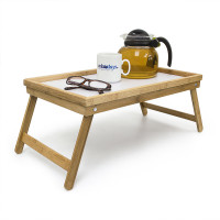 Stolík na raňajky do postele, Bamboo/ biely RD3869