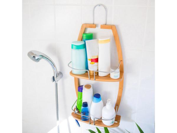 Bambusový kúpeľňový regál s 2 policami, RD9018