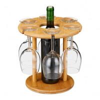 Bambusový stojan na víno a 6 pohárov RD1069